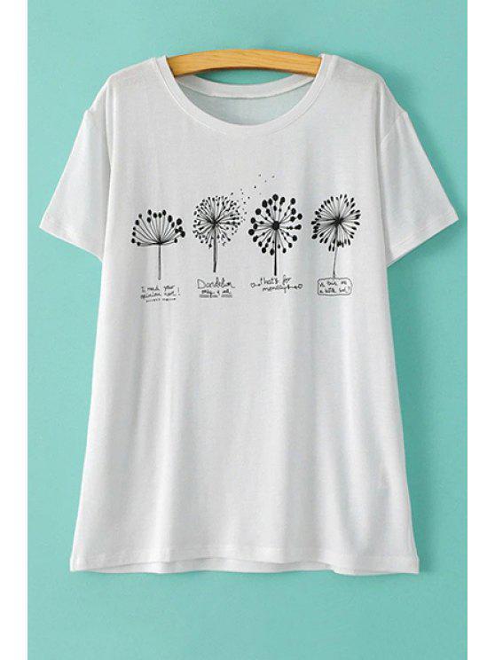 lady Dandelion Print Round Neck Short Sleeve T-Shirt - WHITE M