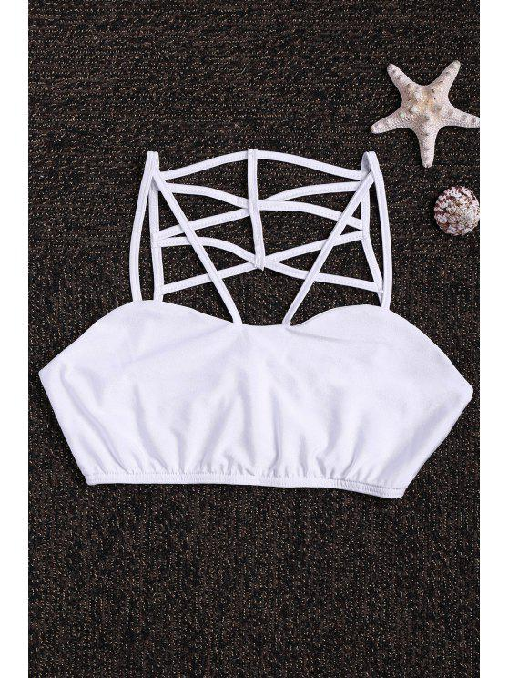 trendy Spaghetti Strap Back Cross Tube Top - WHITE S