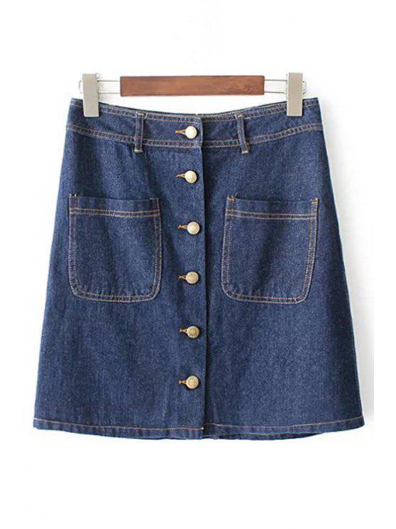93add50b7d 32% OFF] 2019 Button Front Denim Skirt In BLUE | ZAFUL