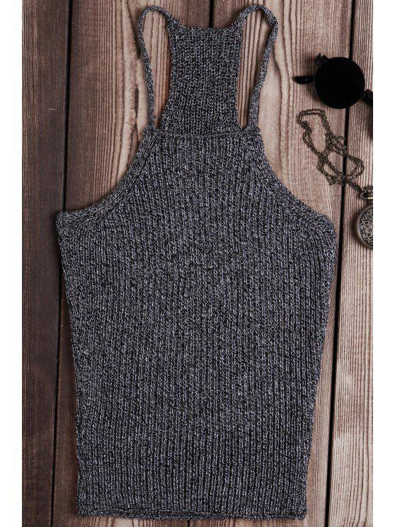 a06979bd0da58b ladies Solid Color Spaghetti Strap Knit Tank Top - GRAY ONE SIZE(FIT SIZE XS