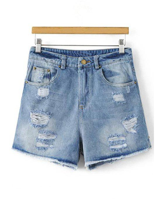 women Ripped Denim Cutoffs - DENIM BLUE M