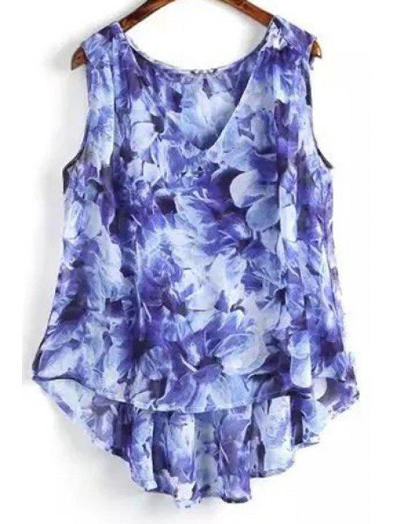 Flor de impresión con cuello en V sin mangas de mayor a menor - Azul S
