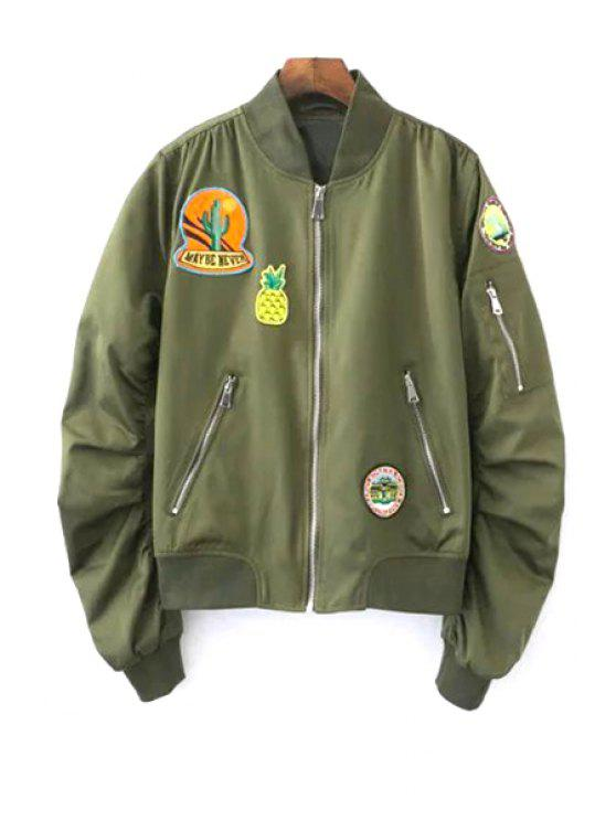 Patch Design Suporte Long Neck Sleeve Jacket - Exército verde L