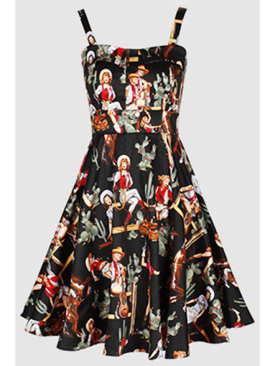 hot Printed Vintage Spaghetti Straps Ball Gown Dress - BLACK S