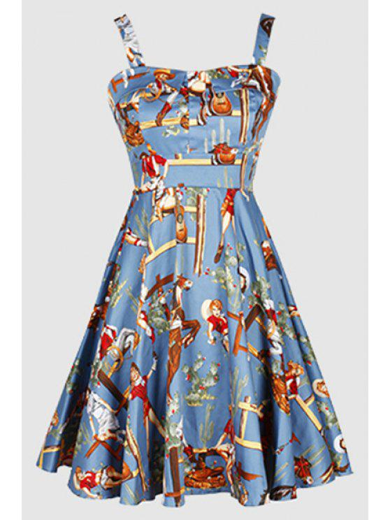 outfits Printed Vintage Spaghetti Straps Ball Gown Dress - LIGHT BLUE L