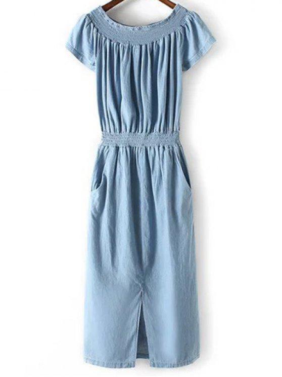 6a63609fcd52 29% OFF  2019 Off-The-Shoulder Denim Midi Dress In LIGHT BLUE