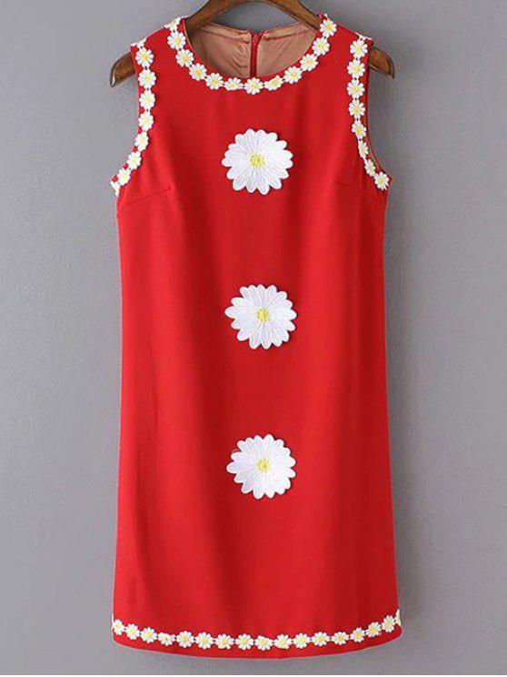 unique Crochet Daisy Tank Dress - RED M