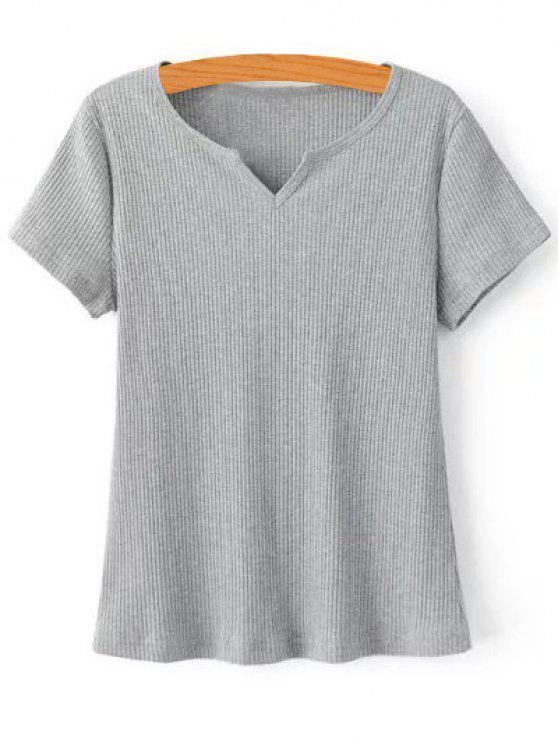Acanalado del color sólido de la camiseta - Gris L