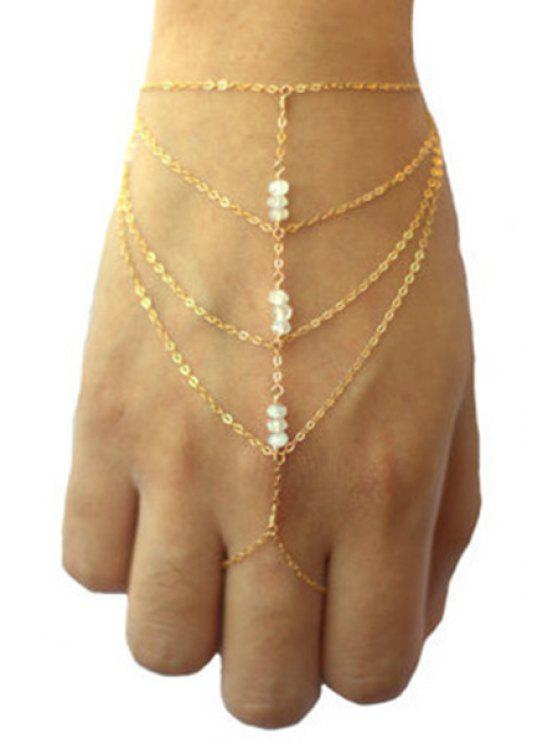 ladies Bead Multilayered Golden Wrist Chain - GOLDEN