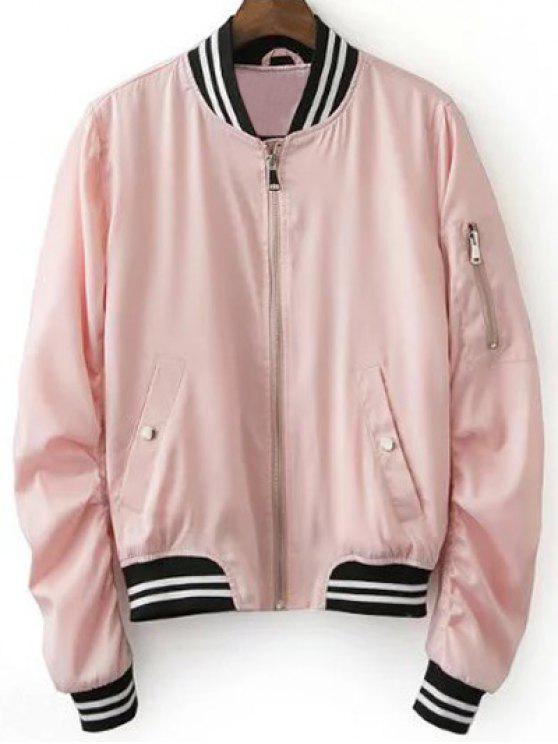 sale Pink Baseball Jacket - PINK L