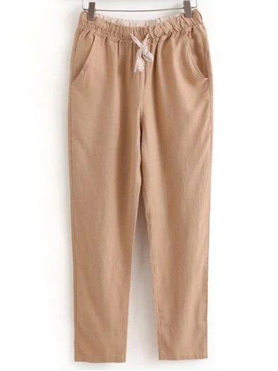 Pantalons casual à lacet avec poches à couleur pure - Kaki Clair XL