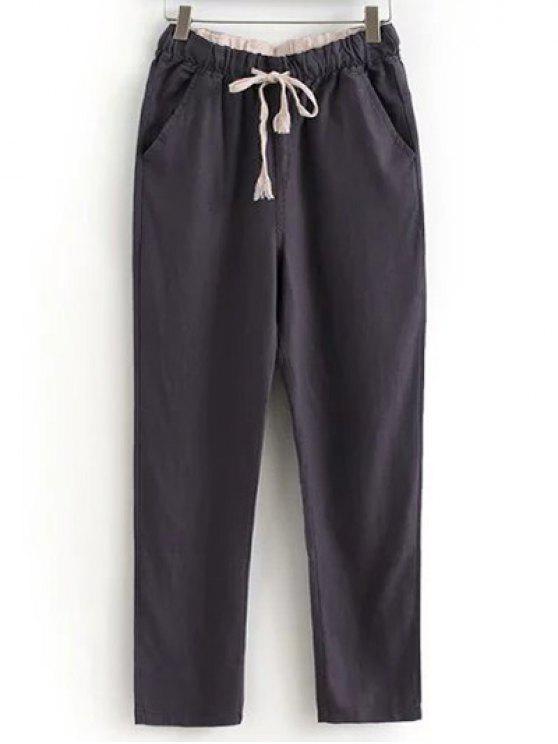 Con cordón Bolsillos pantalones ocasionales del color sólido - Chocolate XL