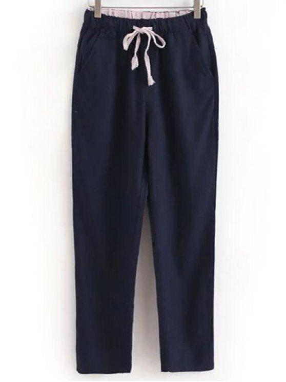 chic Drawstring Casual Pockets Solid Color Pants - DEEP BLUE L