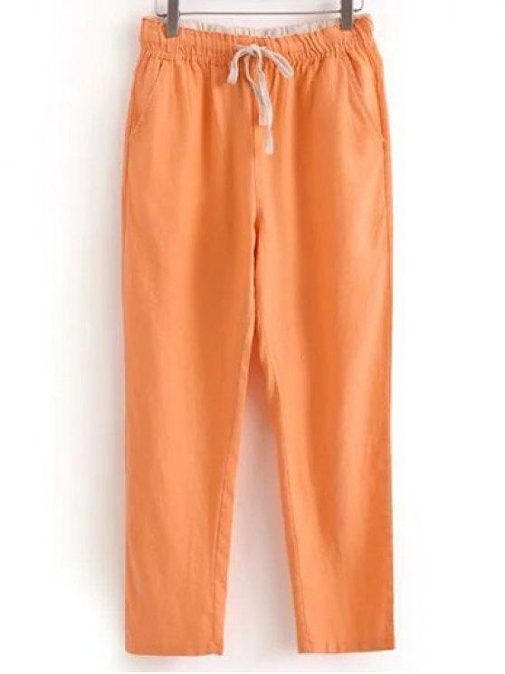 shops Drawstring Casual Pockets Solid Color Pants - ORANGEPINK XL