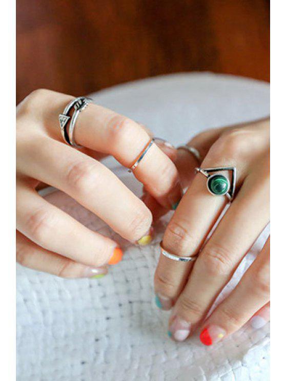 women's Bead Hollow Triangle Arrow Rings - SILVER