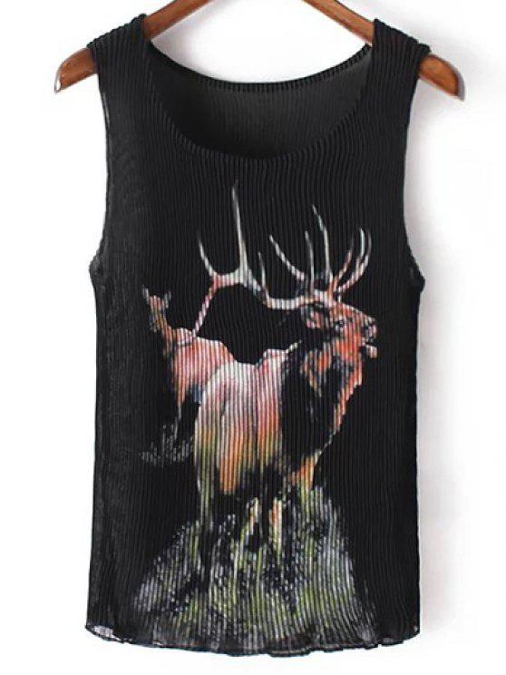 Plisado con cuello redondo sin mangas de impresión Elk - Negro Un tamaño(Montar tam