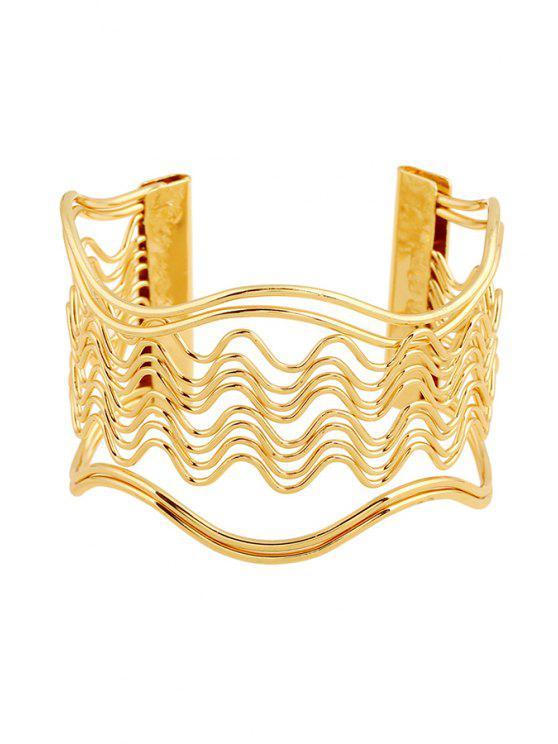 unique Hollow Out Wavy Striped Golden Bracelet - GOLDEN