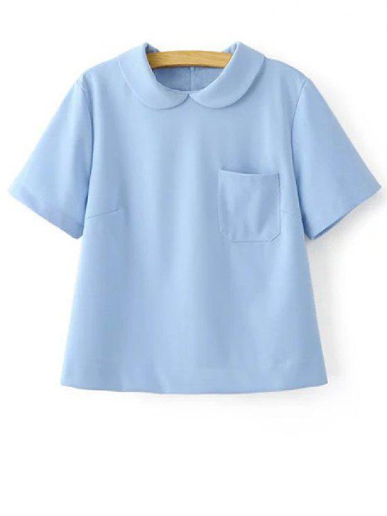 trendy Solid Color Peter Pan Collar Short Sleeve Pocket T-Shirt - LIGHT BLUE M