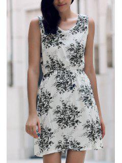 Printed Waisted Mini Dress - Dun Xl