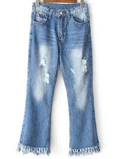 Ripped Pockets Rough Selvedge Jeans - Light Blue Xl