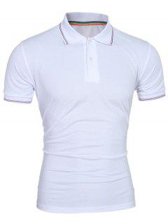 Laconic Turn-down Collar Colorful Stripes Short Sleeves Polo T-Shirt For Men - White L