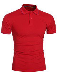 Collier Laconic Turn-down Colorful Stripes Manches Courtes Polo T-shirt Pour Les Hommes - Rouge Xl