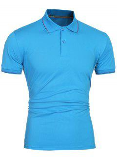 Laconic Turn-down Collar Colorful Stripes Short Sleeves Polo T-Shirt For Men - Blue M