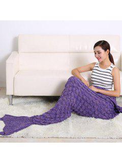 Fish Scale Design Knitting Sleeping Bag Mermaid Blanket - Purple