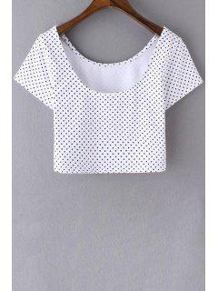 Polka Dot Scoop Neck Short Sleeve Cropped T-Shirt - White M
