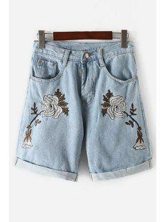 Floral Embroidery High Waisted Denim Shorts - Light Blue S
