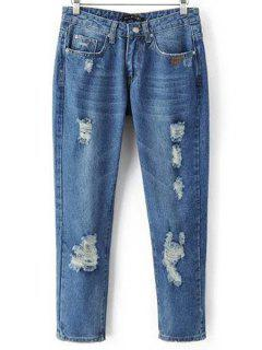 Ripped Pockets Bleach Wash Jeans - Denim Blue S