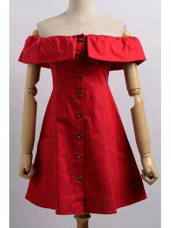 Cold Shoulder Button Front Closure Dress - Red L