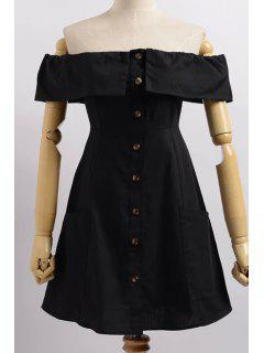 Cold Shoulder Button Front Closure Dress - Black S