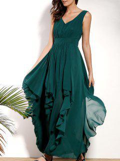 Ruffles Plunging Neck Formal Maxi Dress - Green S