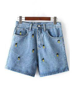 Pineapple Embroidery High Waisted Denim Shorts - Light Blue S