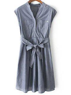 Camisa De Vestir Sin Mangas Con Cinturón - Gris Azulado M