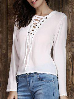 Lace Up Plongeant T-shirt Ras Du Cou à Manches Longues - Blanc Xl