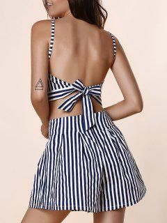 Backless Crop Top With Striped Shorts - Blue M