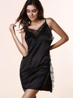 Open Back Lace Splicing Spaghetti Straps Dress - Black L