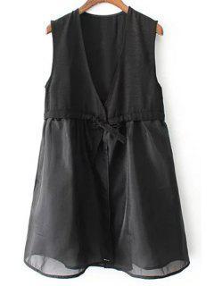 Una Línea Vestido Negro Chaleco - Negro L
