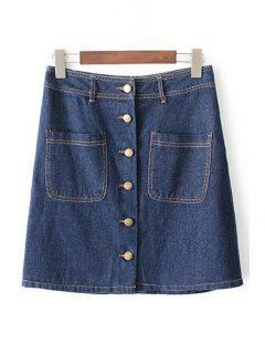 Button Front Denim Skirt - Blue L