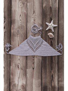 Crochet High Neck Bikini Top - Gray