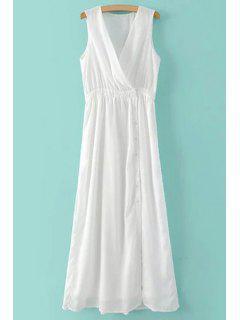 Deep V Neck Maxi Dress - White S