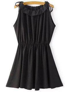 Bow Tie Shoulder Chiffon Dress - Black S