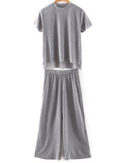 Solid Color T-Shirt And Wide Leg Cropped Pants - Gray L