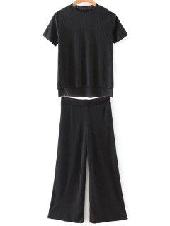 Solid Color T-Shirt And Wide Leg Cropped Pants - Black L