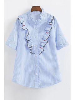 Striped Eyelash Pattern Ruffle Shirt - Blue L