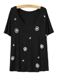 Beaded V Neck Short Sleeve T-Shirt - Black L