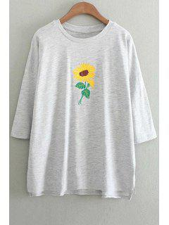 Sunflower Embroidery Round Neck 3/4 Sleeve T-Shirt - Gray