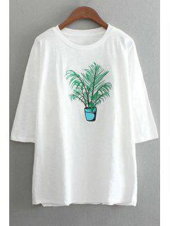 Planta De Bordado Cuello Redondo 3/4 Camiseta De La Manga - Blanco